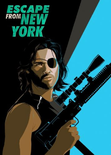 1980's Movie - ESCAPE FROM NEW YORK - SNAKE BLUE / canvas print - self adhesive poster - photo print